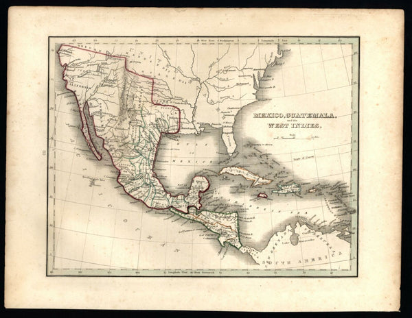 United States Austin's Colony in Texas Early America 1835 Bradford U.S. map