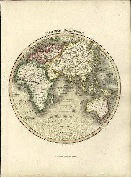 Africa Mts. Kong Moon New Holland Australia Arabia 1819 Wyld Hewitt Thomson map