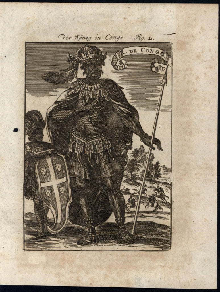 King Congo Africa Royal Clothing Servant Boy 1719 antique Mallet World print