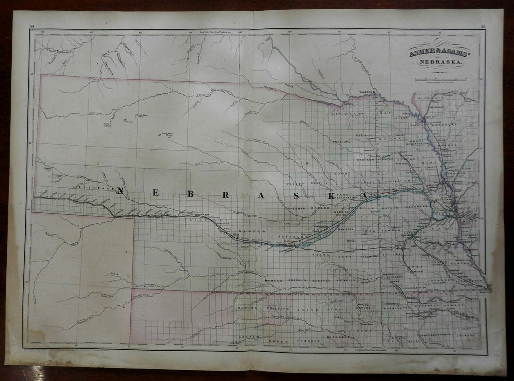 Nebraska State Map Platte River Lincoln Pawnee Omaha 1872 Asher & Adams map