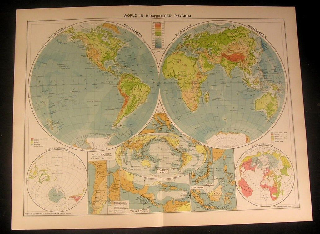 Physical View World in Hemispheres c.1922 vintage large detailed color map