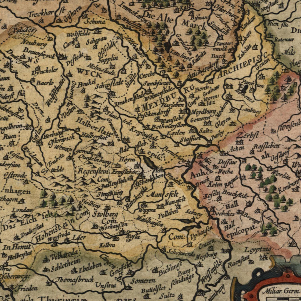 Braunswyck et Meydburg Germany antique beautiful c.1628 Mercator minor old map