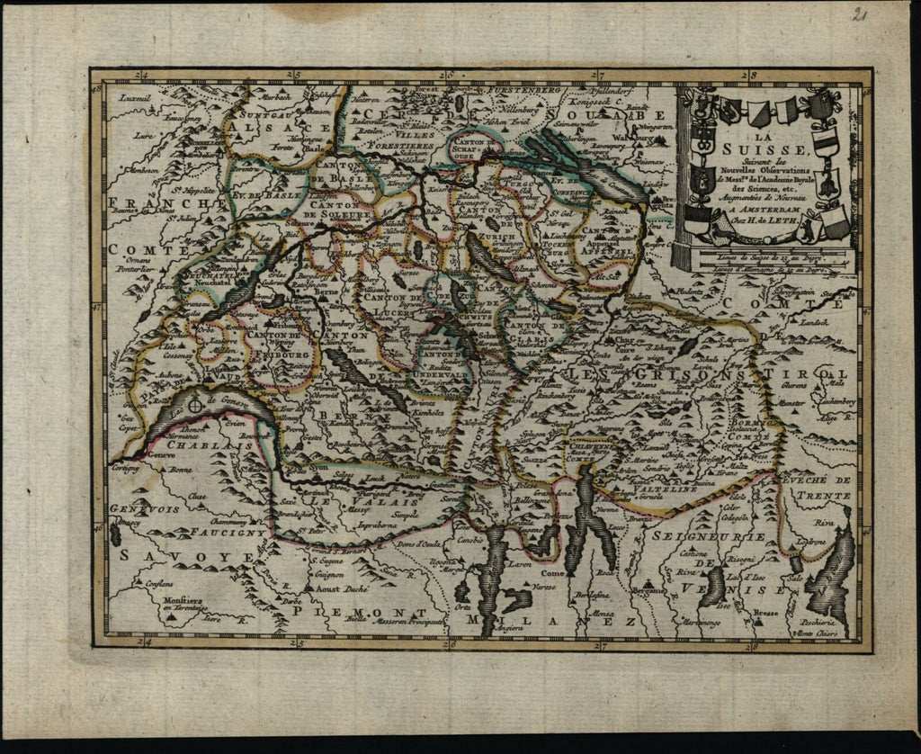 Suisse Switzerland Piedmont France Alps c.1760 de Leth map hand color