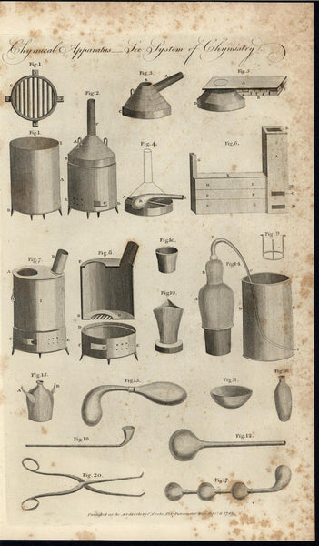 Chemical Apparatus Heating Elements Surgical Tools 1789 antique engraved print