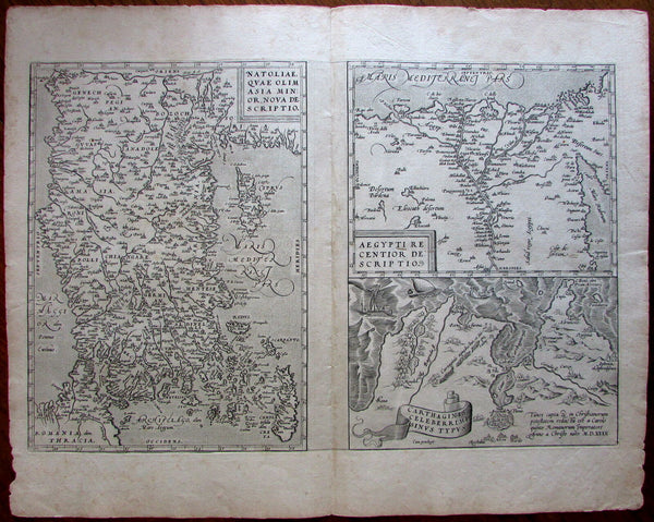 Turkey Cyprus Greece Egypt Tunis Africa coast 1574 Ortelius map vdB 174 scarce