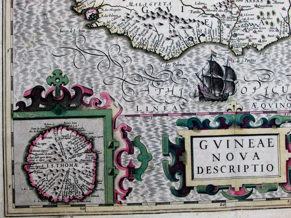 Guinea West Africa St. Thomas Sierra Leone ships c.1606 Hondius Mercator old map