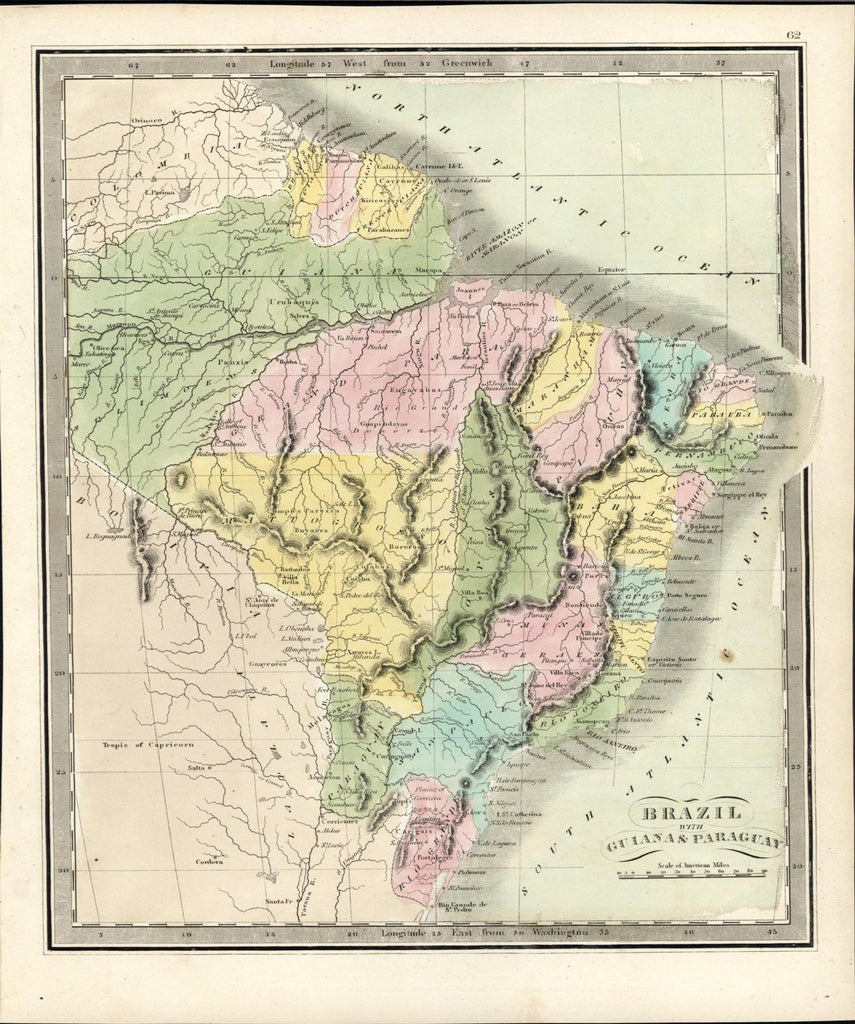 Brazil Guyana Paraguay 1845 Greenleaf scarce vintage old hand color map