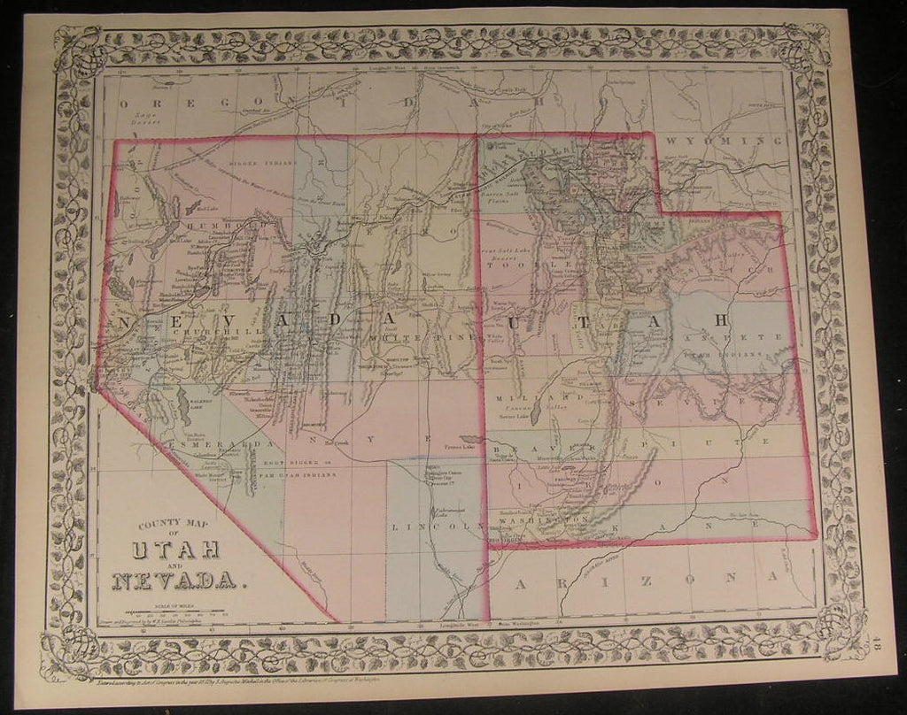 Nevada & Utah detailed 1872 fine old vintage antique lithograph hand color map