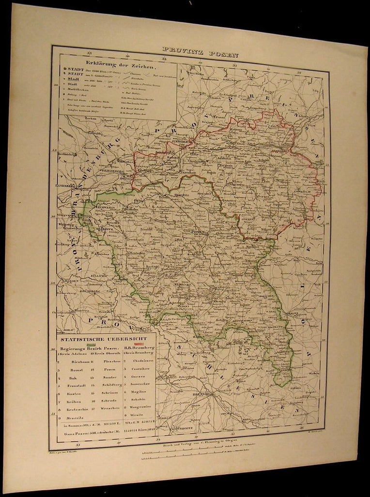 Posen Prussia Germany Bromberg Lissa Schwerin 1855 Flemming old antique map
