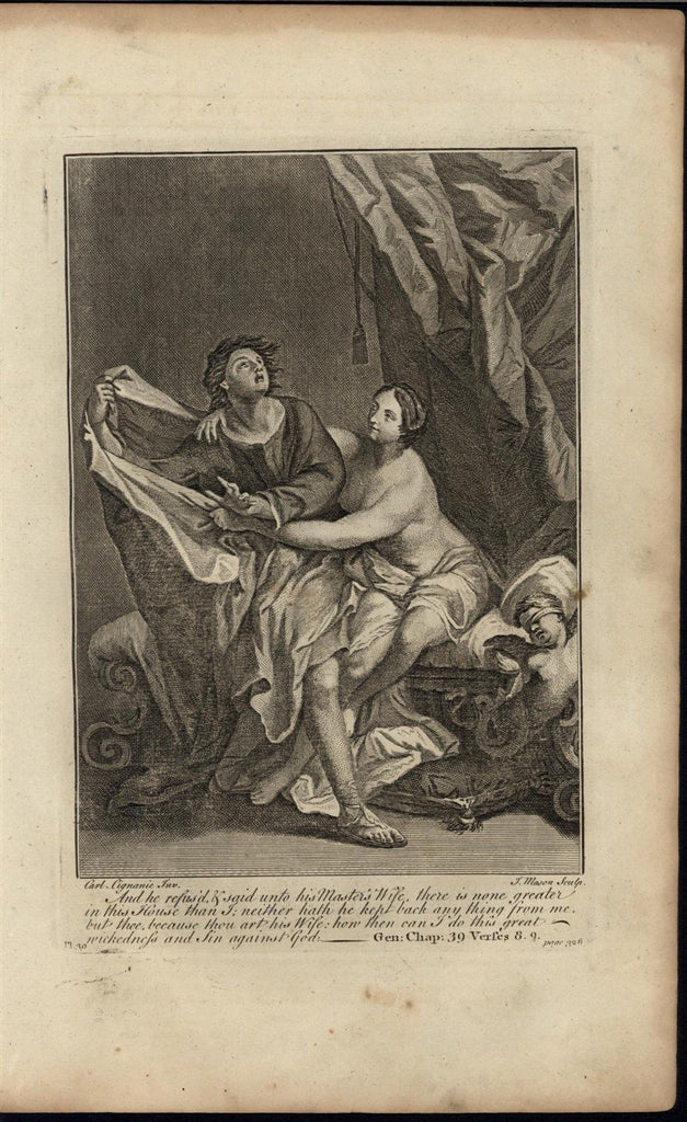 Master Wife Seductress Refusal Cherub c.1750 antique copper engraved Bible print