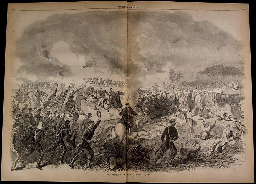 Battle of Bull Run Soldiers Charging Explosion 1861 great old print for display