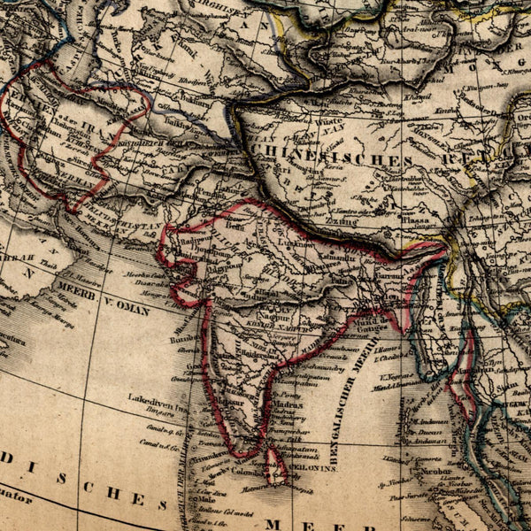 Asia 1854 India SE Asia China Siberia uncommon old hand color map