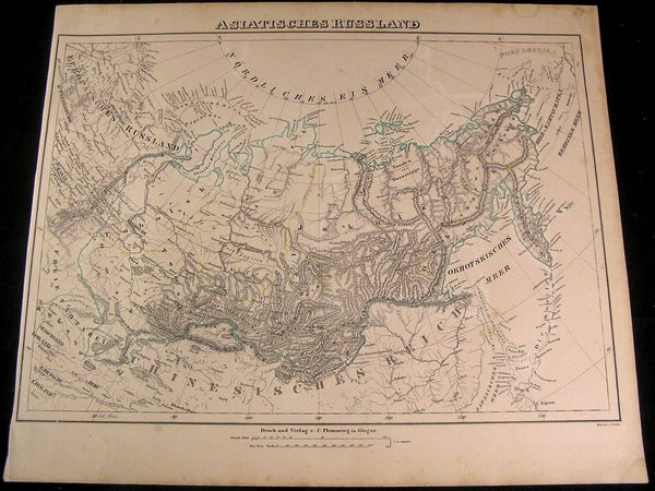 Asiatic Russia Yakutzk Tobolsk Bering Strait 1849 Flemming old antique map