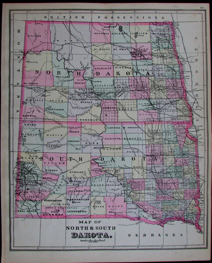 North & South Dakota towns counties railroads reservations public ...