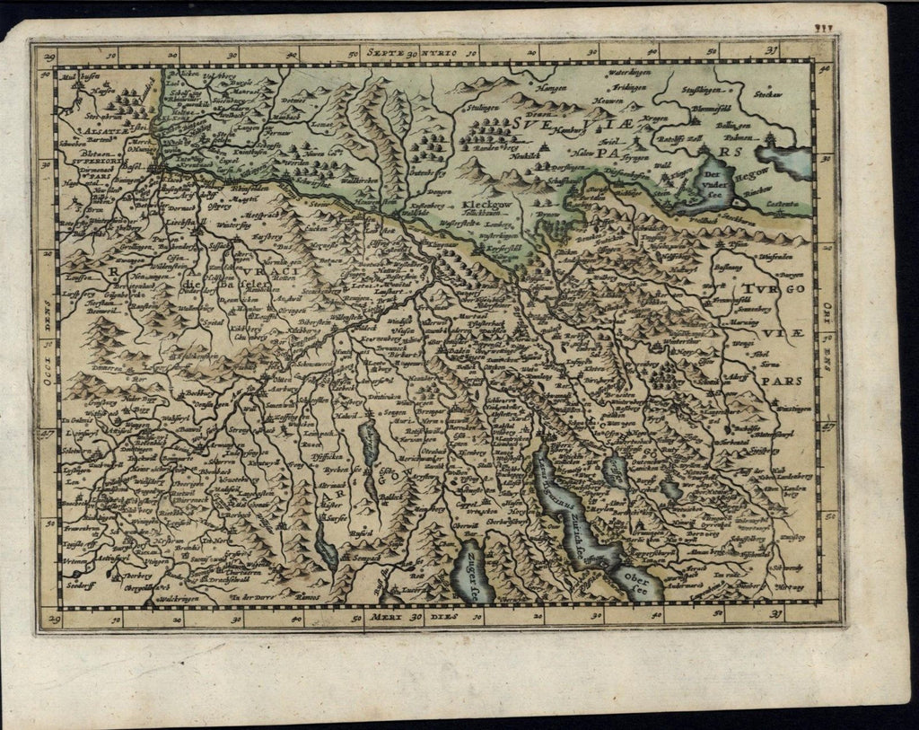 Northern Switzerland c.1680's antique old vintage detailed hand color map