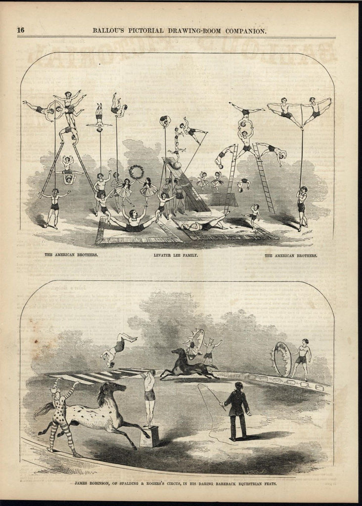 Circus Performers Daring Feats Acrobats Horse Riding 1856 antique engraved print