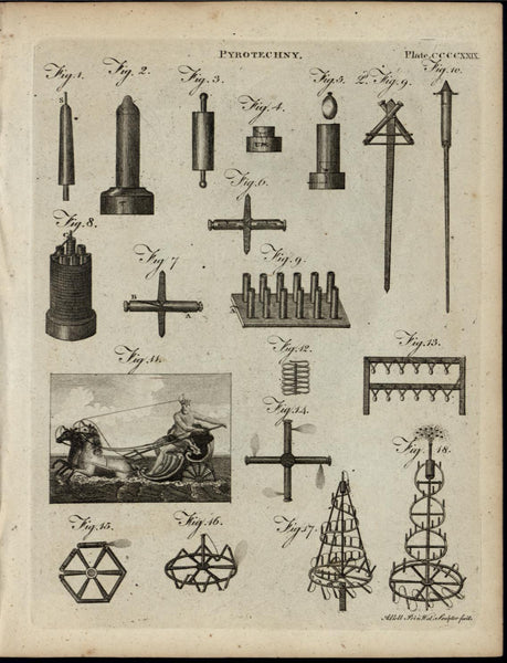Fireworks Pyrotechnics Poseidon Design ca. 1790's fascinating old engraved print