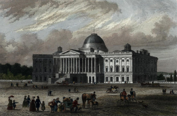 Capitol Building early version Washington DC 1850 Meyer antique engraved view