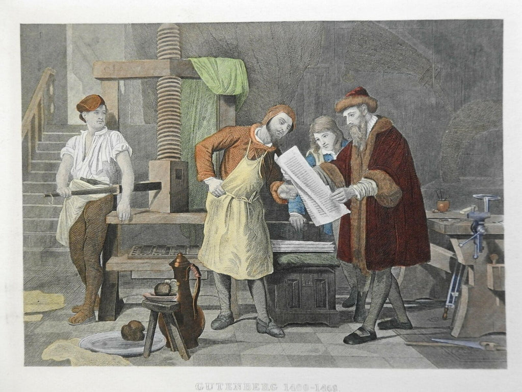 Johannes Gutenberg Printing Press c. 1890 Hess early Bible book production scene