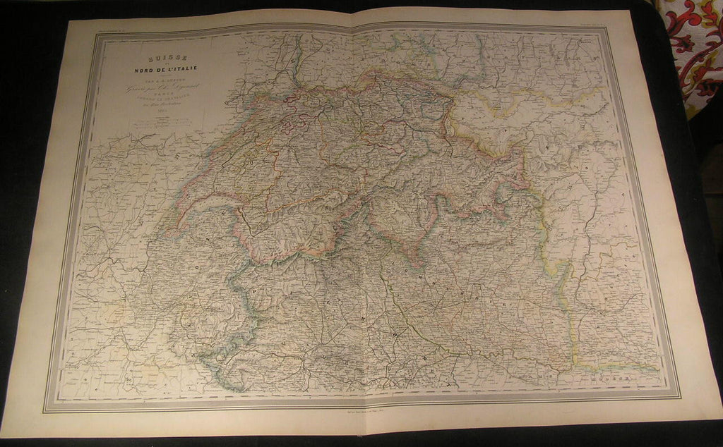 Switzerland Piedmont Lombardy Swiss Alps 1864 antique Dufour huge hand color map