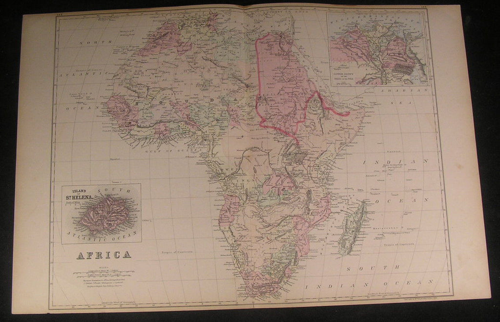 Africa Mountains of Kong 1884 large old antique vintage detailed hand color map