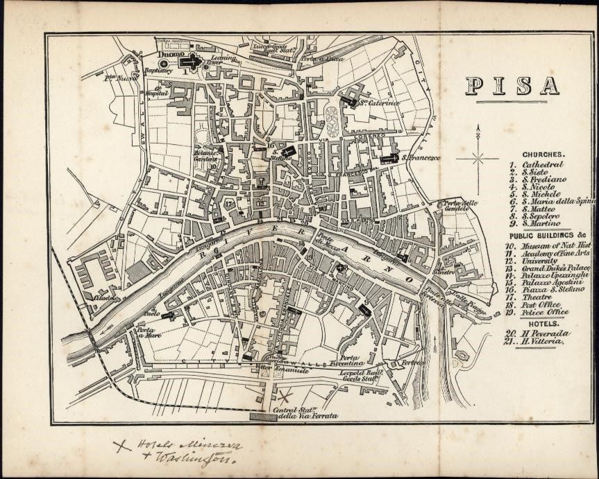 Pisa Italy Italia 1875 scarce city plan antique map very rare with 31 locations