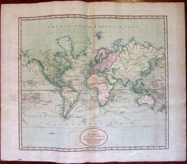 World Map Tracks Capt. cook Explorers 1811 John Cary lovely large map