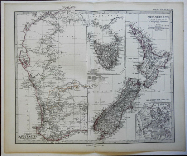 New Zealand North & South Island West Australia 1874 Petermann detailed map