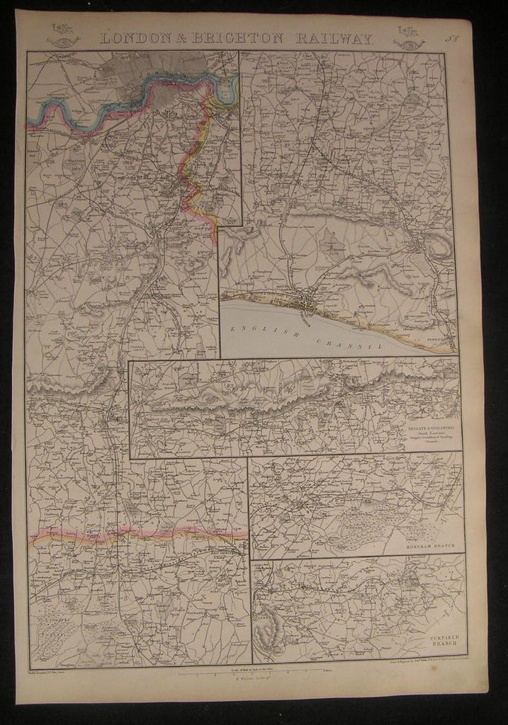 England London & Brighton Railway c.1863 old vintage detailed Weller map