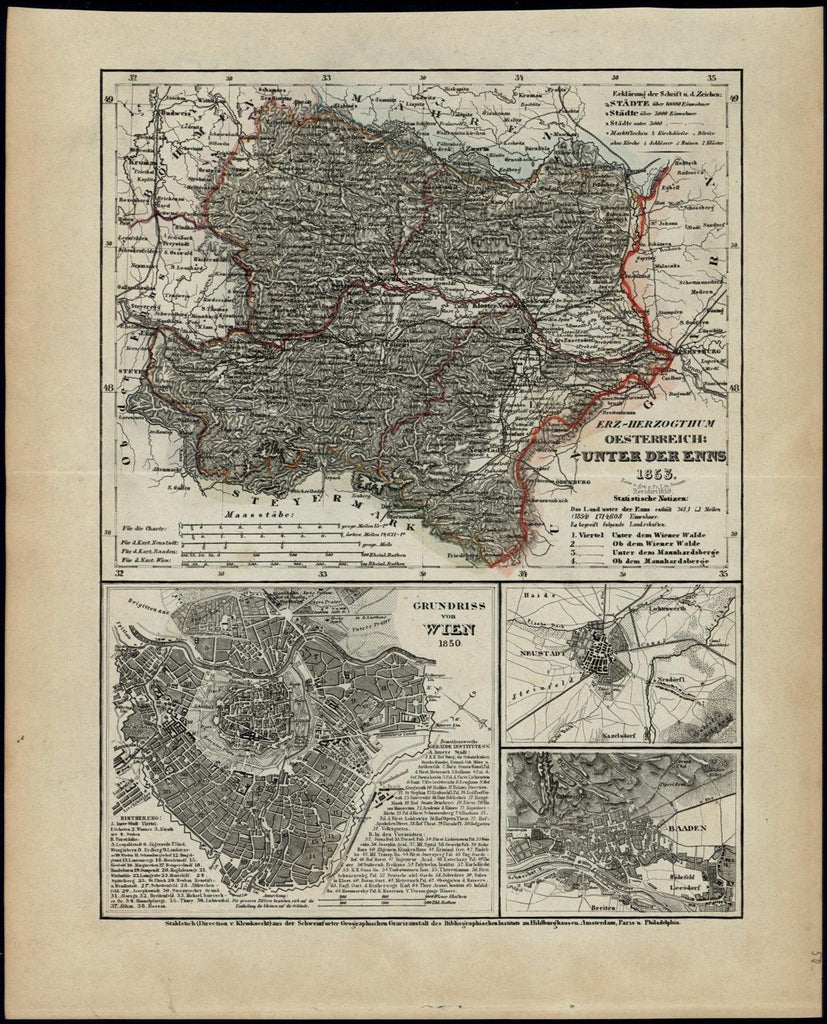 Austria Under the Enns Vienna Baaden 1853 Meyer scarce detailed antique map