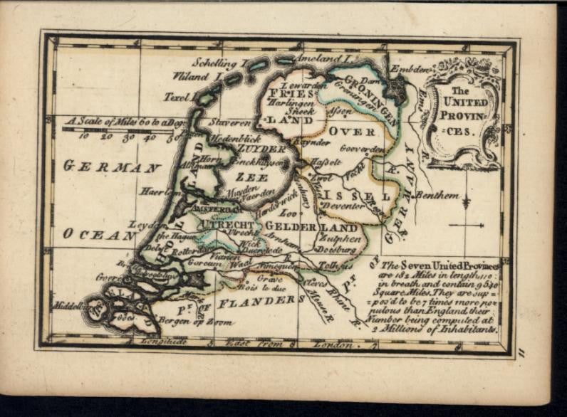 United Provinces Netherlands Holland 1758 Bowen charming miniature antique map