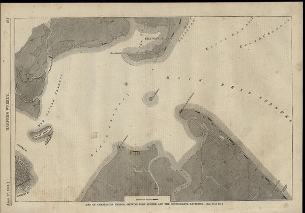 Charleston Harbor Map Fort Sumter Confederate 1861 great old print for display