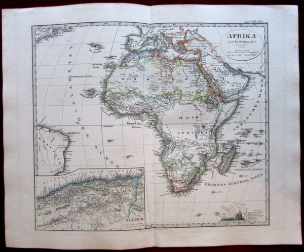 Africa continent 1862 Stulpnagel map Stieler Blank interior Nile source Mts.