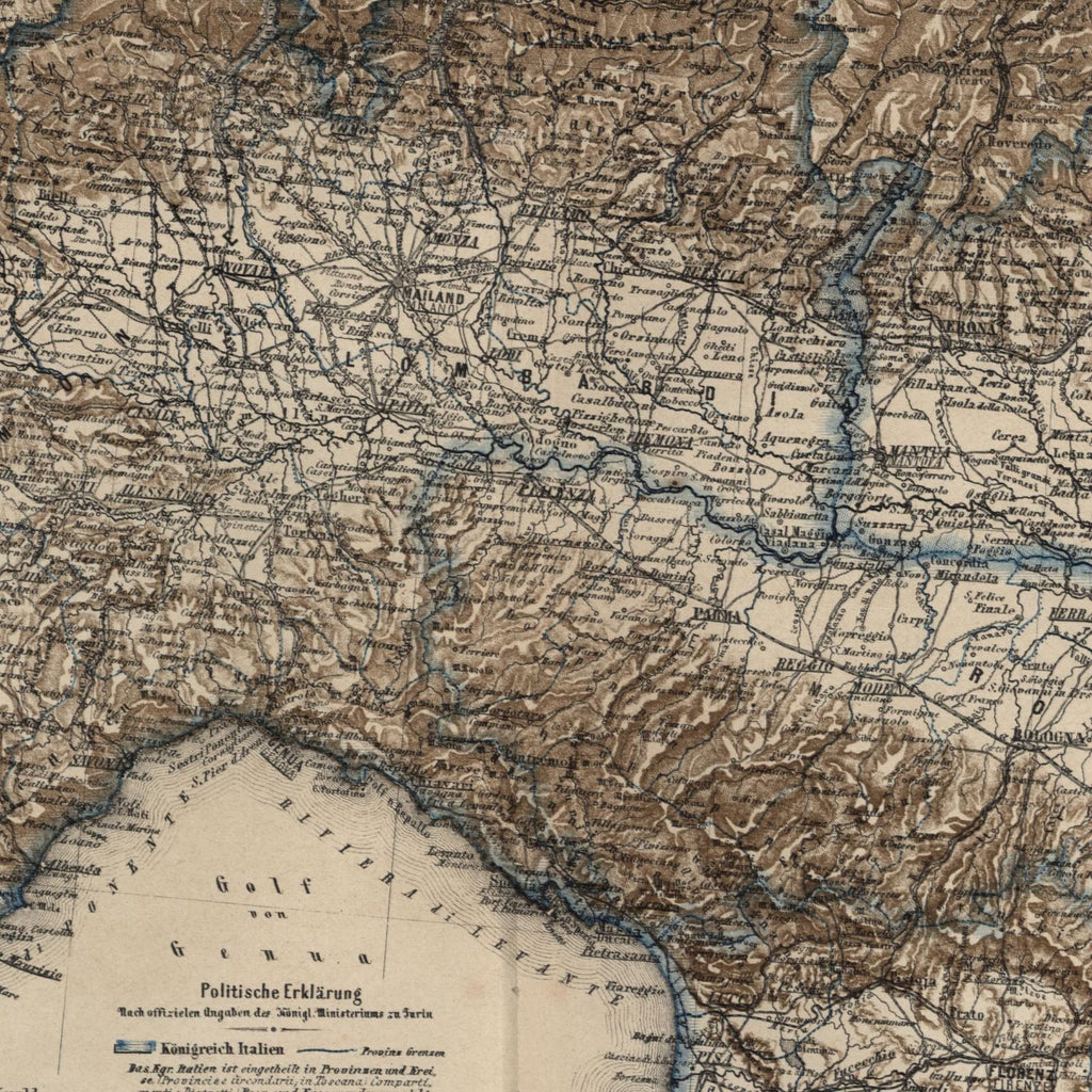 Northern Italy Lombardy Venezia Lakes region Milan Como 1867 Meyer small old map