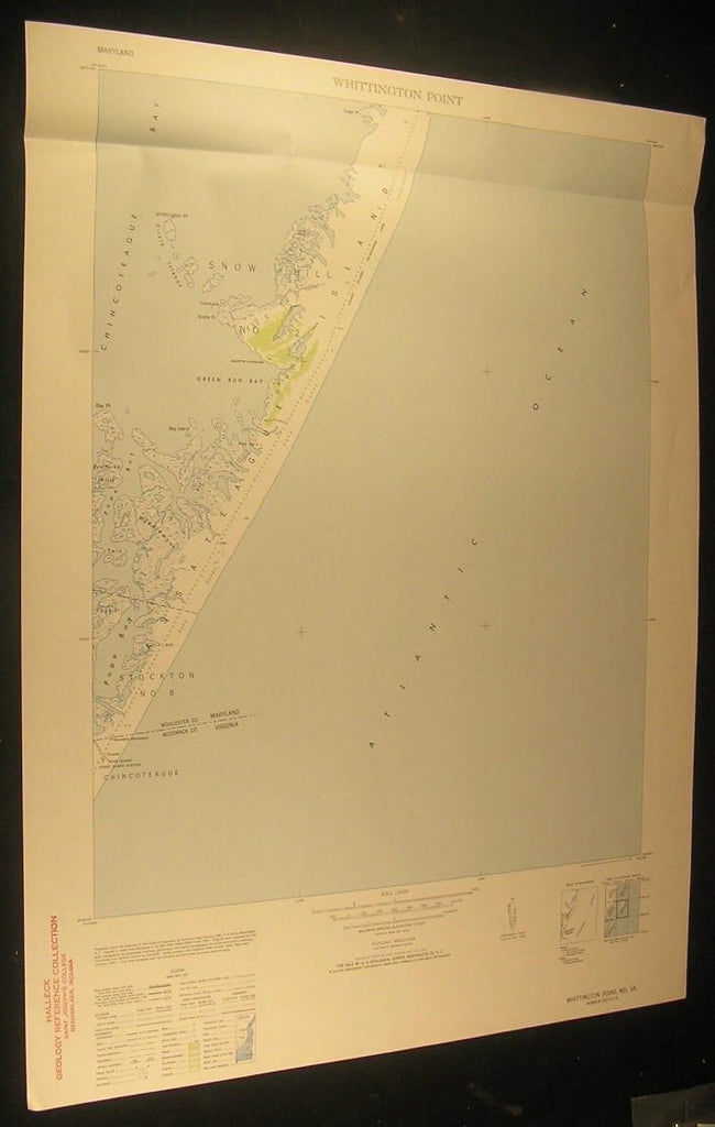 Whittington Point Popes Bay Sand Dunes 1953 antique color lithograph map