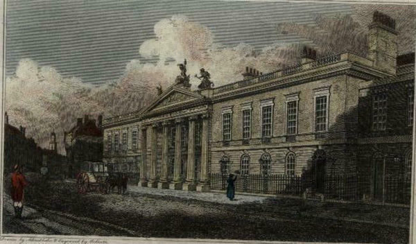 East India House London c.1810 engraved view print lovely hand color