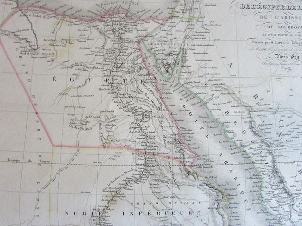 Egypt Nubia North Africa vast Mts. of Moon scarce c.1830 Lapie large old map