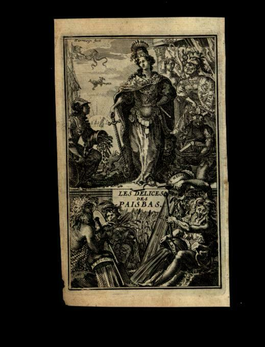 Pais Bas Netherlands Belgium Low Countries 1711 Frontispiece print allegory