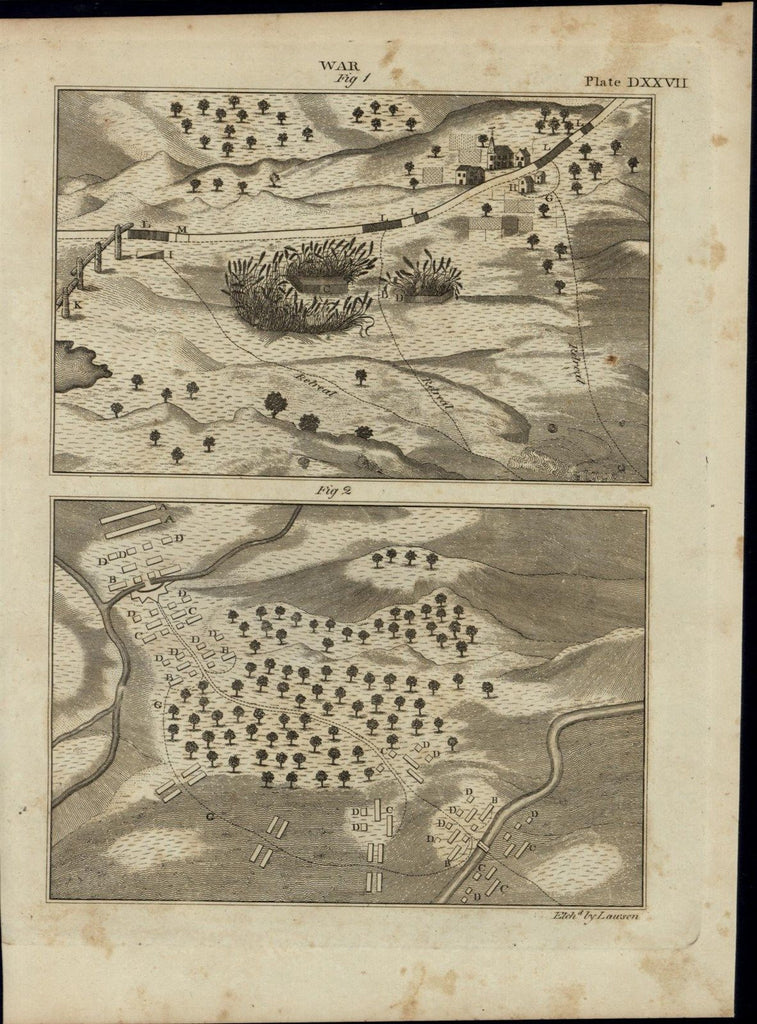 Battle Plan Map Strategy Fortress Village Forest 1798 antique American War print