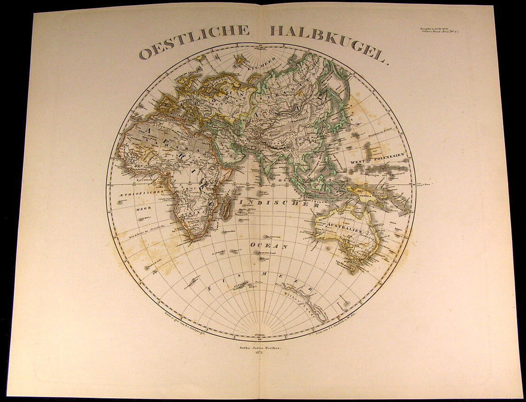 Eastern Hemisphere Africa Europe Asia Australia 1875 fine old detailed map