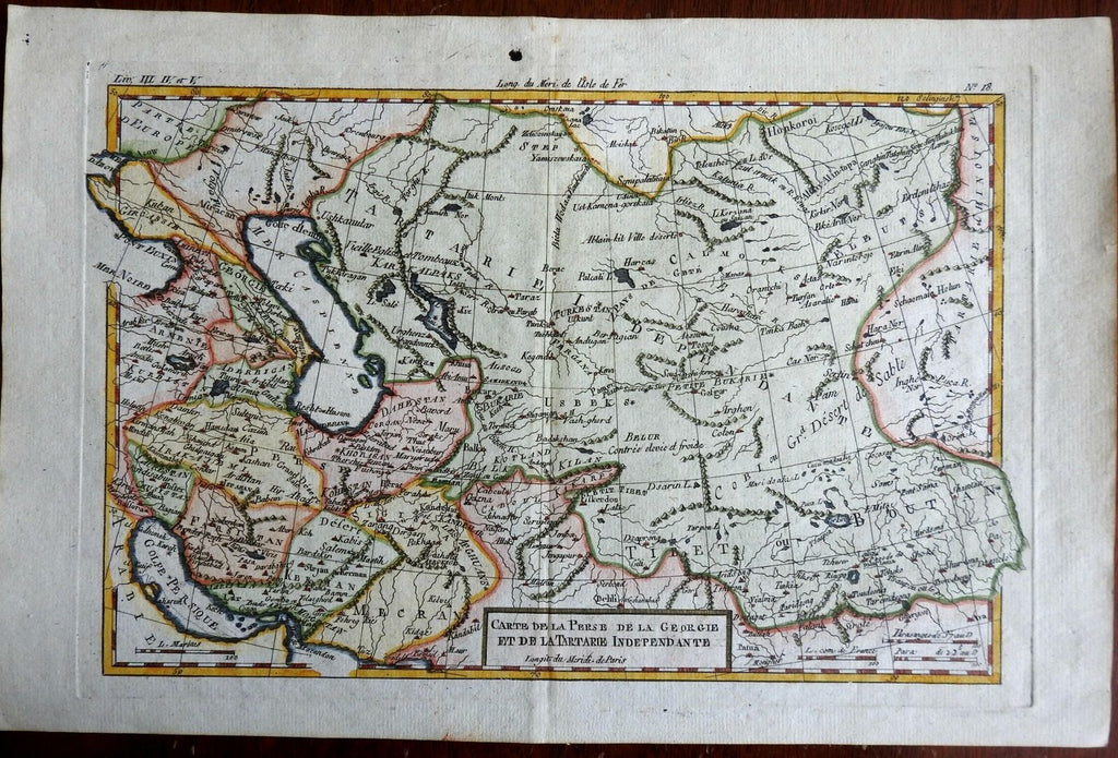 Persia Iran Afghanistan Middle East Caspian Sea Tibet 1780 Bonne map