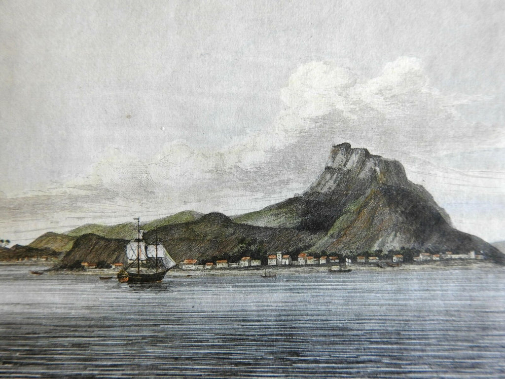 Tahiti Pacific Raiatea Coastal Village Sailing Ship 1839 color engraved view