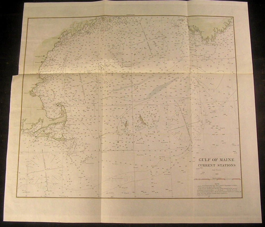Gulf of Maine 1883 Currents Boston Cape Cod antique folio color nautical chart
