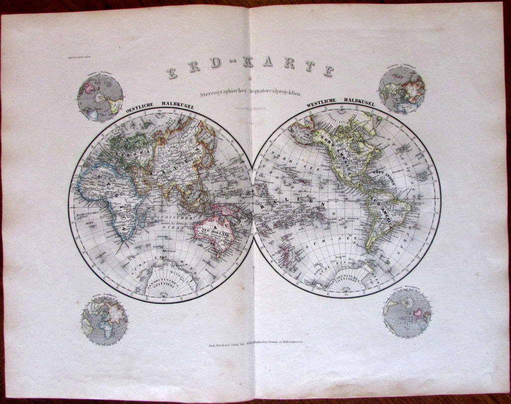 World Double Hemispheres c.1867 detailed Radefeld German map