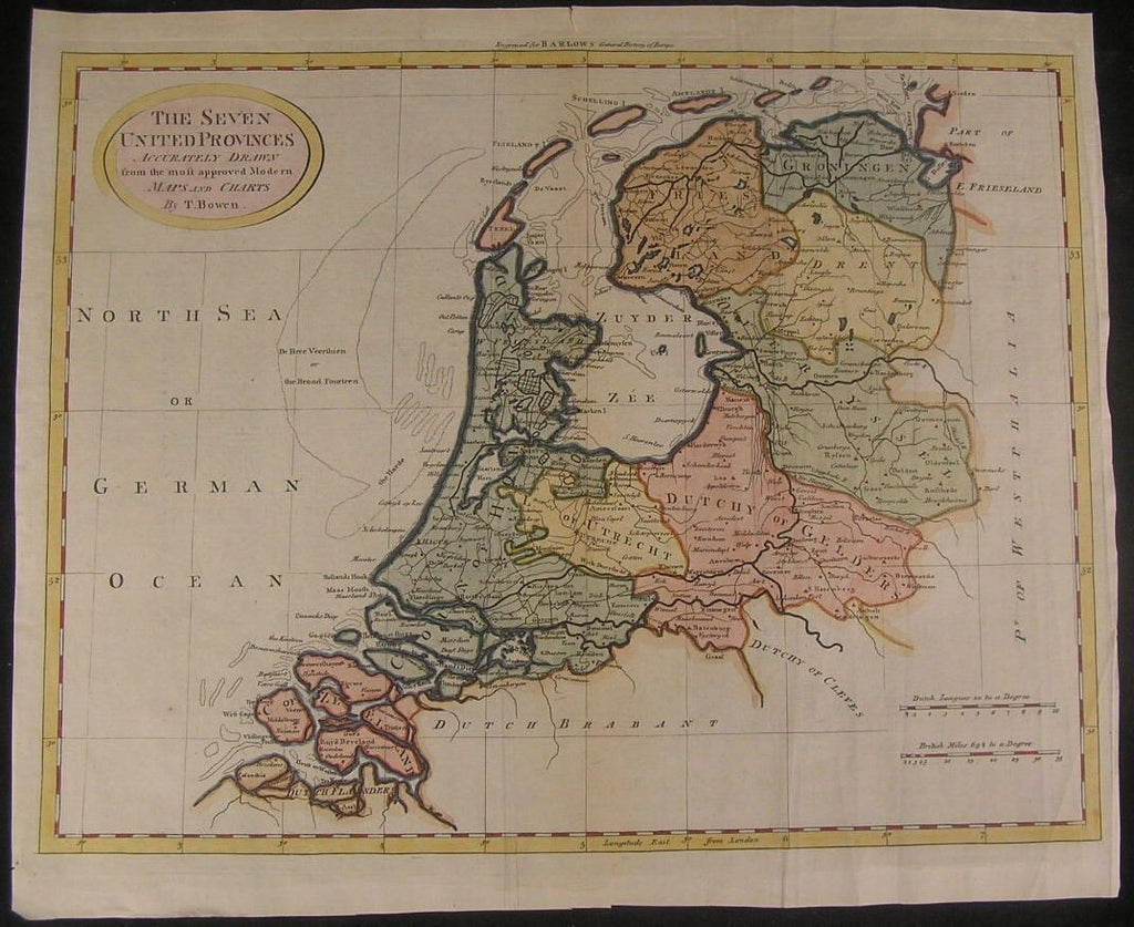 Netherlands 7 Provinces c. 1780 Bowen folio Holland lovely color antique map