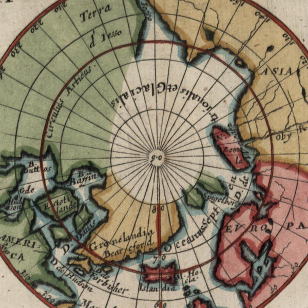 North Pole c.1660 Du Val miniature old map Polar projection