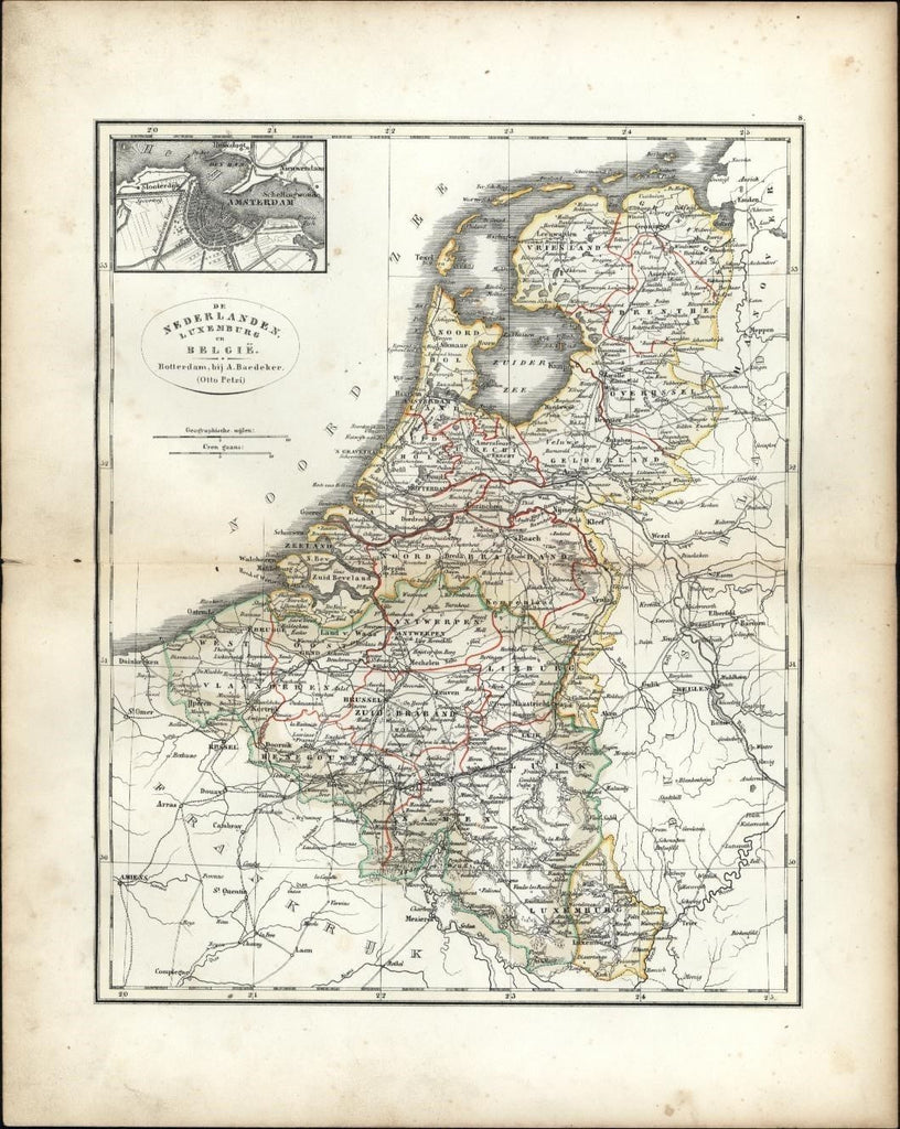 Amsterdam city plan Holland c.1844 rare Adolph Baedeker Petri Dutch engraved map