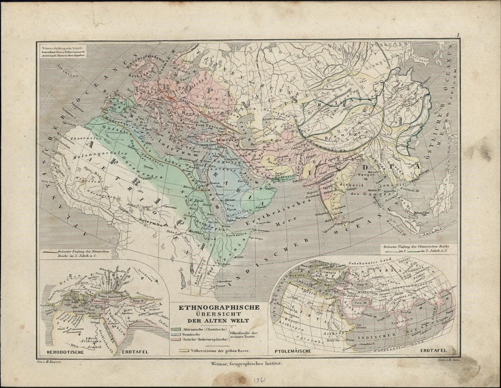 Ethnographic World map 1861 German Kiepert Szen antique hand color
