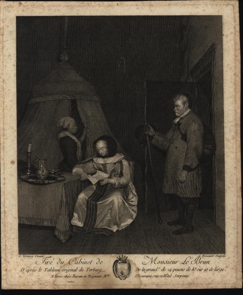 Traveler Beauty Reading Letter Servant Mulling c.1800 antique engraved print