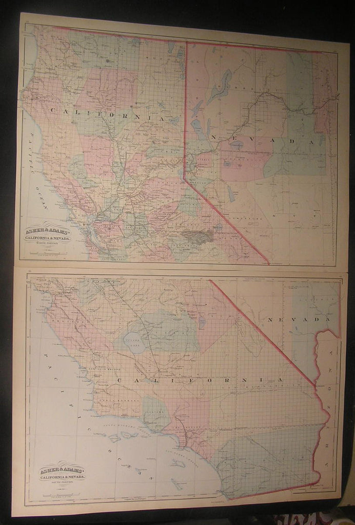 California & Nevada 1874 antique Asher & Adams large hand color pair of maps
